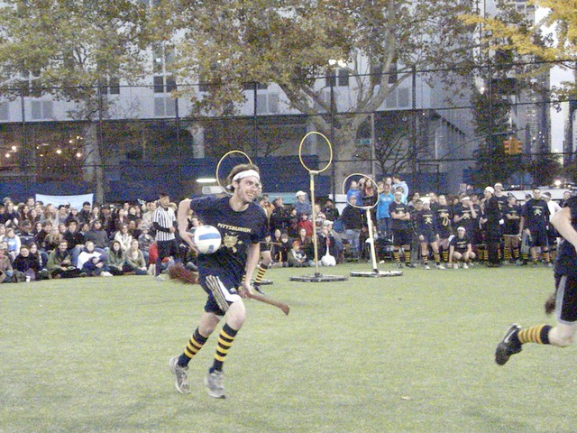 Ground quidditch players must keep a broom wedged between their legs throughout the match.
