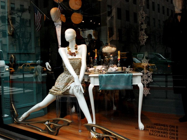 Several designers created one-of-a-kind pieces for the display at Saks Fifth Avenue.