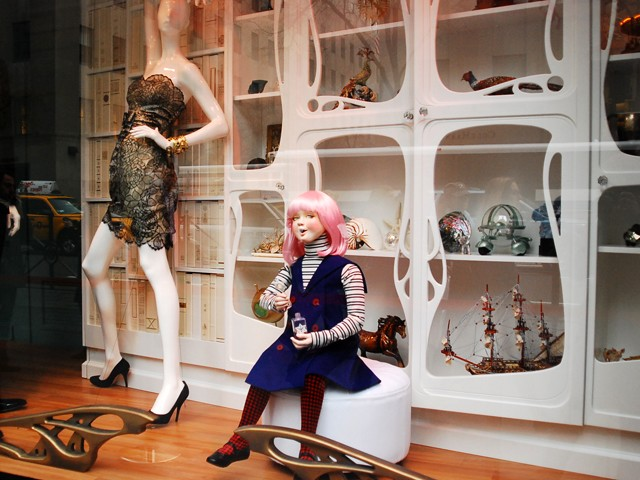 Several designers created one-of-a-kind pieces for the windows at Saks Fifth Avenue.