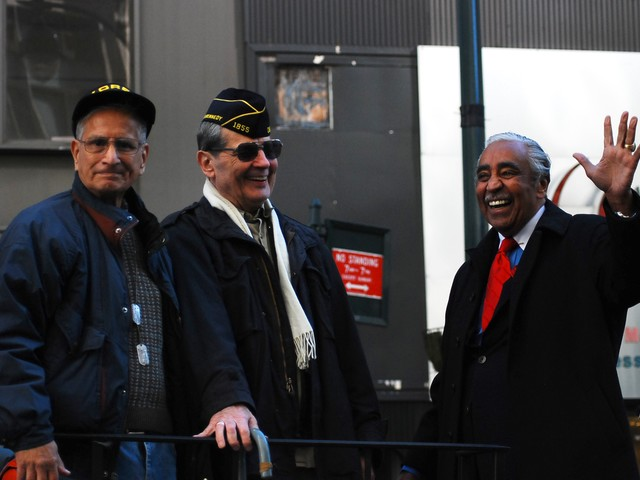 Korean War veteran Charles Rangel on a float during the 91st annual New York City Veteran's Day Parade Thursday.