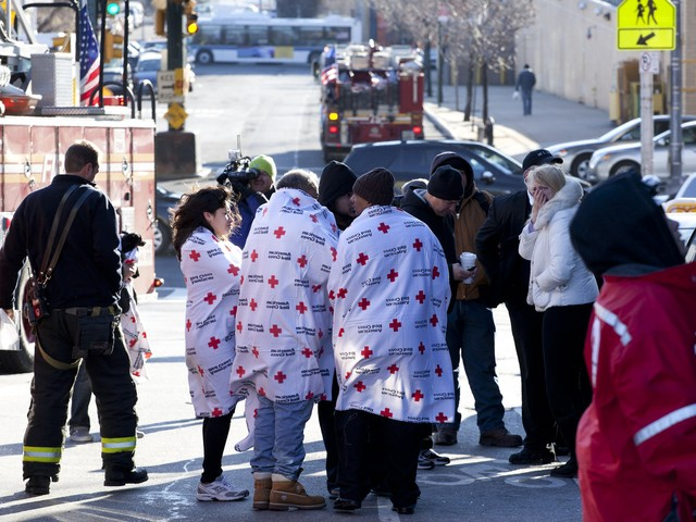 The Red Cross responded to help people who were evacuated from the fire.