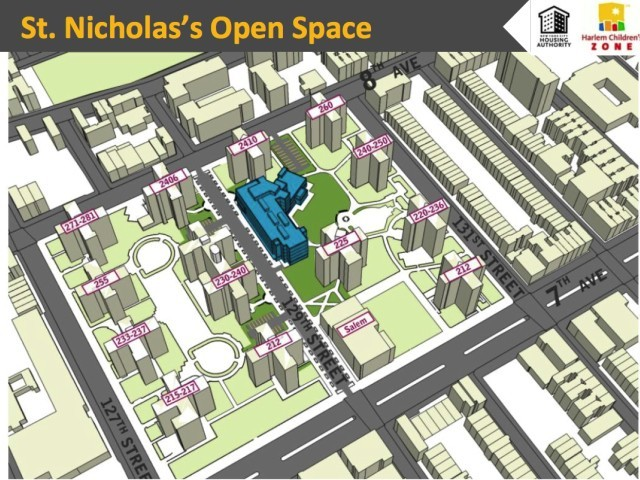 A map showing the layout of the St. Nicholas Houses superblock.