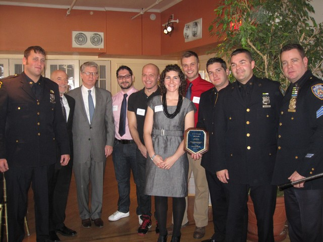 The 10th Precinct's Conditions Unit (charged with quality of life issues) with Manhattan District Attorney Cyrus Vance Jr. and members of the Greenwich Village-Chelsea Chamber of Commerce.