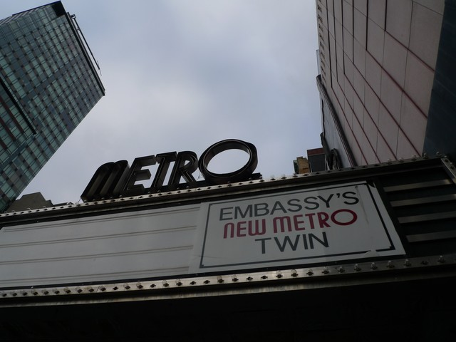 The marquee and facade of the Metro Theater were landmarked in 1989.