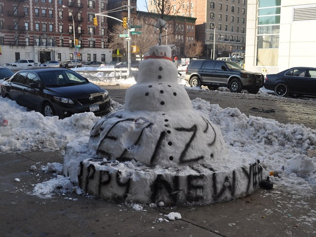 A copy cat snowman on 165th Street and Audubon Avenue.