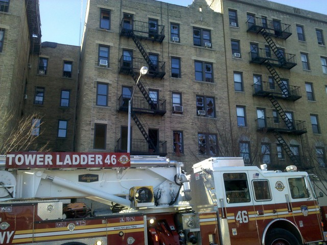 Residents complain that repairs are still slow going after a fire broke out on the second floor apartment of a building on 218th Street in December.