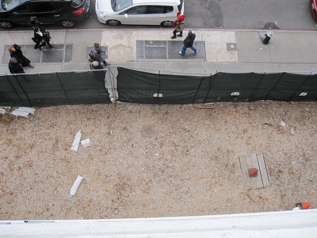 The view of the site of the underground oil tanks from Barbara Backer's balcony.