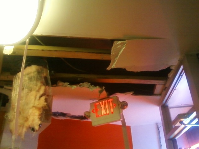 The fire damaged the ceiling throughout the restaurant.