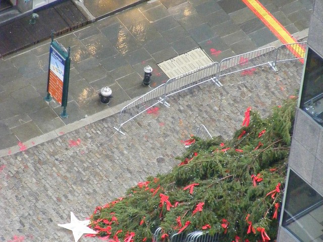 The South Street Seaport Christmas Tree fell in heavy winds on Wednesday.
