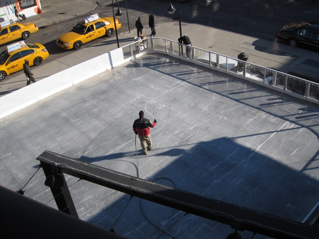 The Standard Hotel's soon-to-be skating rink, seen from the High Line.