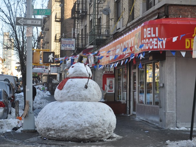 Side view of snowman from corner of 169th Street.