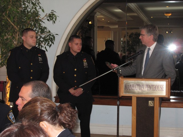 9th Precinct honorees Edward Thompson and John Sivori, with Manhattan District Attorney Cyrus Vance Jr., arrested a suspect carrying eight daggers on his person.