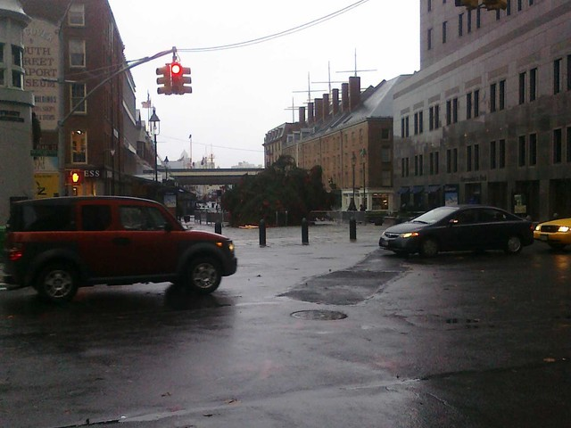 Heavy winds caused the Christmas tree at the South Street Seaport to snap and fall over.