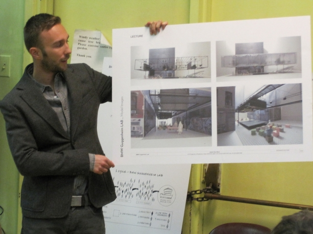 David van der Leer, assistant curator for architecture and urban studies at the Guggenheim, presents the project to Community Board 3 Thursday night.