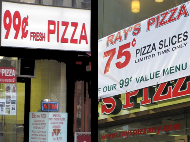 Dueling pizza deals on Broadway between 54th and 55th Streets.