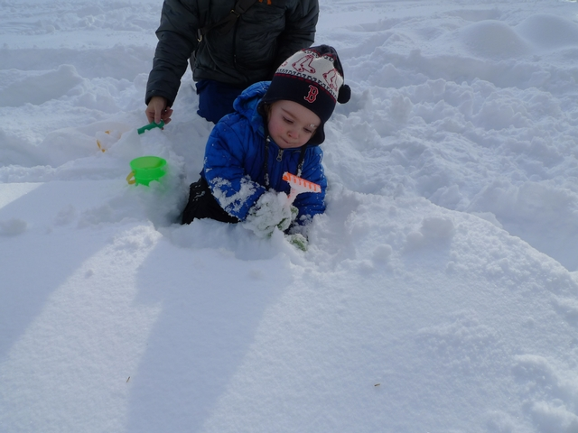 Yale Block, 19 months old, practices scooping skills with sand toys in the snow in Central Park.