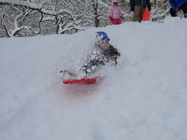 Anna Rogoff, a 7-year-old with a day off school, sails through a snow shower on a Central Park sledding hill.