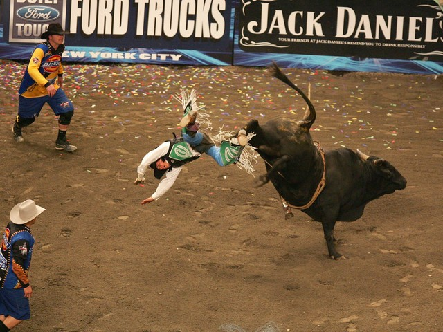 Brian Canter gets thrown from his bull during the Versus Invitational Professional Bull Riding (PBR) Tournament on Jan. 7, 2007 at Madison Square Garden.