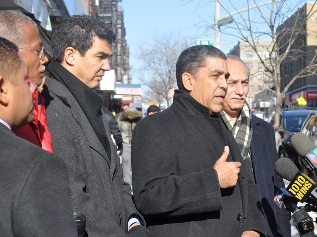 Elected officials Councilmen Robert Jackson and Ydanis Rodrigues, State Senator Adriano Espaillat and Assemblyman Guillermo Linares spoke at a press conference about a recent surge in street violence in Upper Manhattan held on St. Nicholas Avenue.