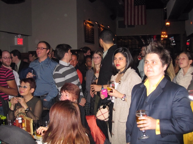 The crowd gathered at a State of the Union watch party at the Mason Jar NYC Bar & Grill on East 30th Street.