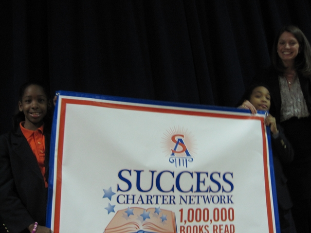 The banner Harlem Success Academy kids received to celebrate their feat.