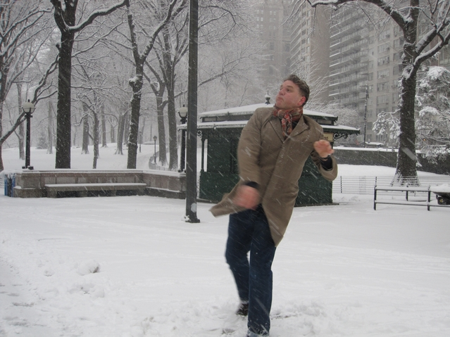 The Bugler family, in from London, England, made the best of Monday's snowstorm, hurling snowballs in Columbus Circle.
