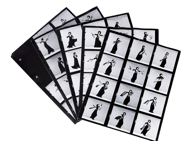 Richard Avedon, group of five contact sheets of a session with Lena Horne.  Estimate $75-150 Sold for $8,750