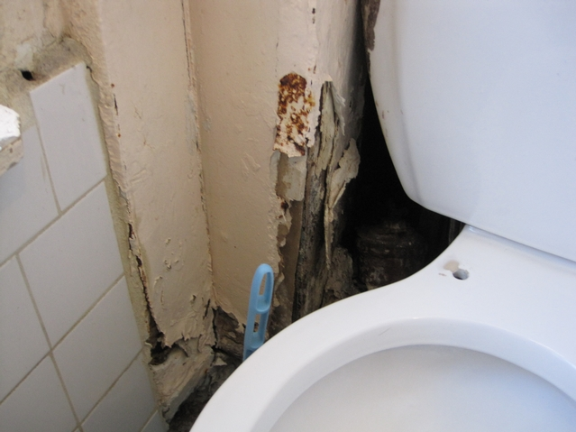 Judelia Nicolas, 25, says rats and mice come through the holes in the bathroom of the apartment where she pays $2,107 per month in rent.