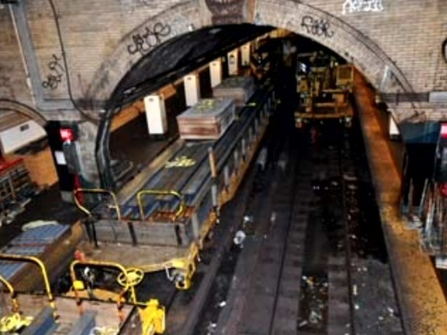 Repairs being made at the 181st Street 1 train station after its partial ceiling collapse in August 2009.
