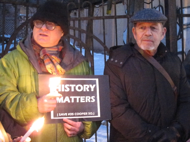 Author Pete Hamill (r.) and Bowery Poetry Club founder Bob Holman at the vigil.