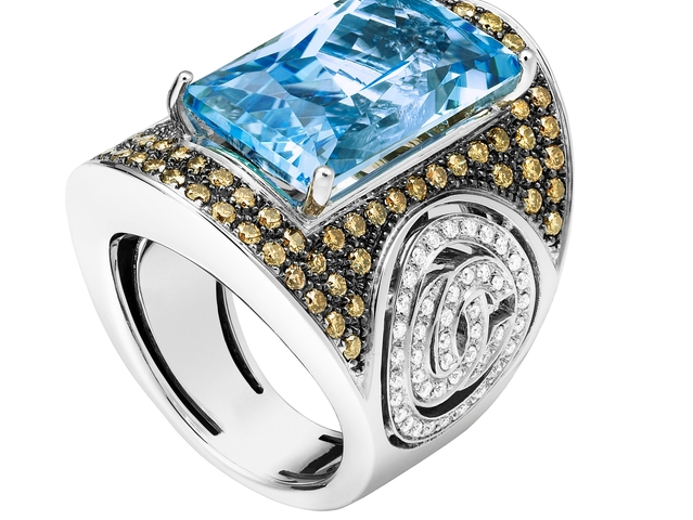 OC Vintage Bagatelle, White Gold, Blue Topaze, Yellow Saphires, and White Diamonds $9,680