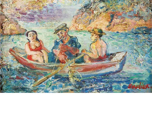 David Burliuk,1882-1967, Fishing. Estimate: $7,000 - 9,000