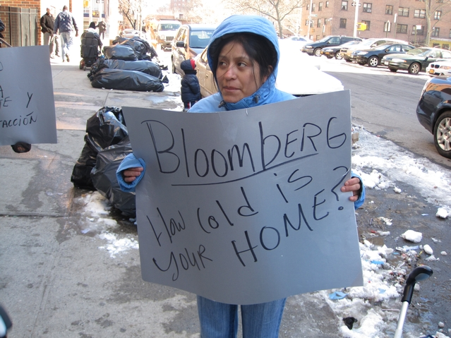 Residents protested outside of their building at 21 E. 115th St.
