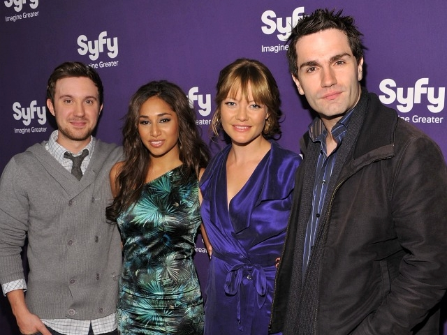 Syfy actors Sam Huntington, Meaghan Rath, Sarah Allen, and Sam Witwer attended the network's upfront event.