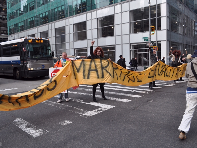 Protesters stopped Midtown traffic Tuesday morning.