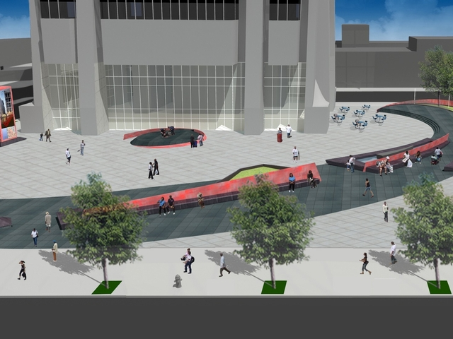 A rendering of the proposed plaza.