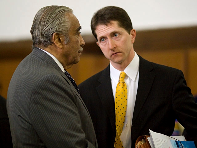Harlem Rep. Charlie Rangel speaks with Assistant District Attorney Christopher Ryan.