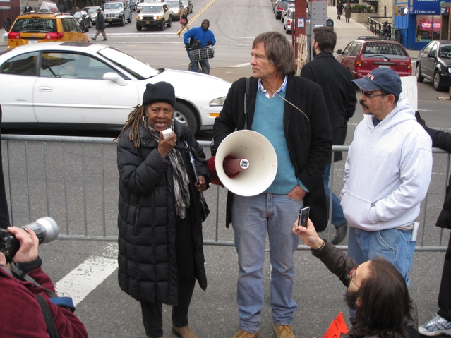 Nelly Bailey, president of the Harlem Tenants Council, addresses protesters.