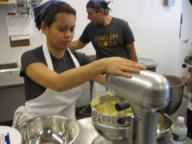 A worker unloads cookie dough at Levain Bakery.