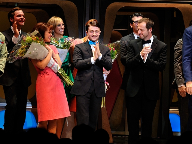 Actor Daniel Radcliffe (C) and cast during curtain call for the Broadway opening of
