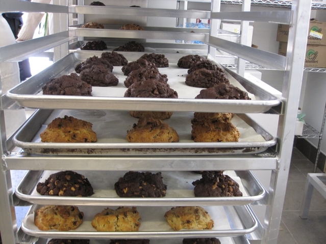 Racks of fresh-baked cookies.