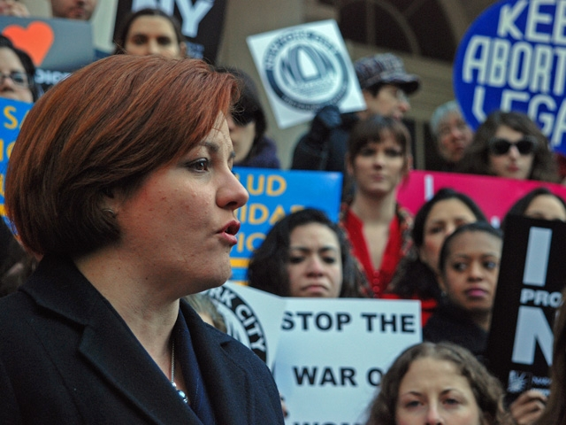 City Council Speaker Christine Quinn spoke at a City Hall rally in favor of a bill regulating anti-abortion clinics on March 2.