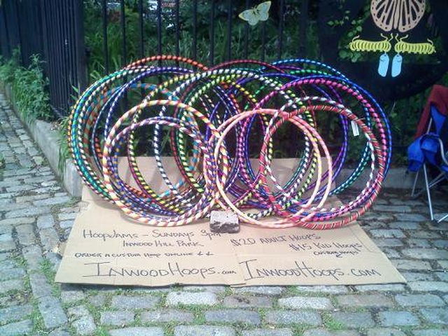 Inwood Hoops sells hula hoops, but also provides free hoops for children and adults to use at Hoop Jams.