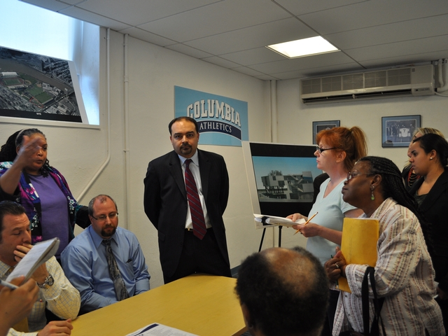 Columbia officials met with the Inwood community to discuss pre-construction issues at the Baker Field site in late April 2011.