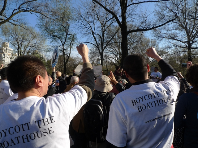Hotel union members rallied outside the  Central Park Boathouse Thursday in support of Boathouse workers.