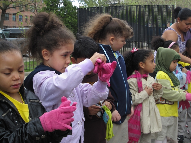 Kids from Harlem RBI's Dream Charter School put on gloves in preparation of flower-planting.