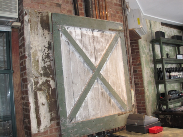 One of the reclaimed barn doors that adorns the restaurant.
