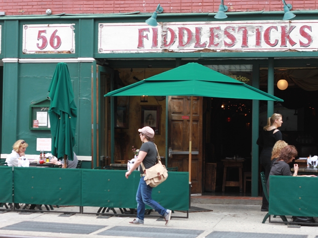 Fiddlesticks, an Irish pub, puts out sunblock as well as salt and pepper on its sidewalk tables.