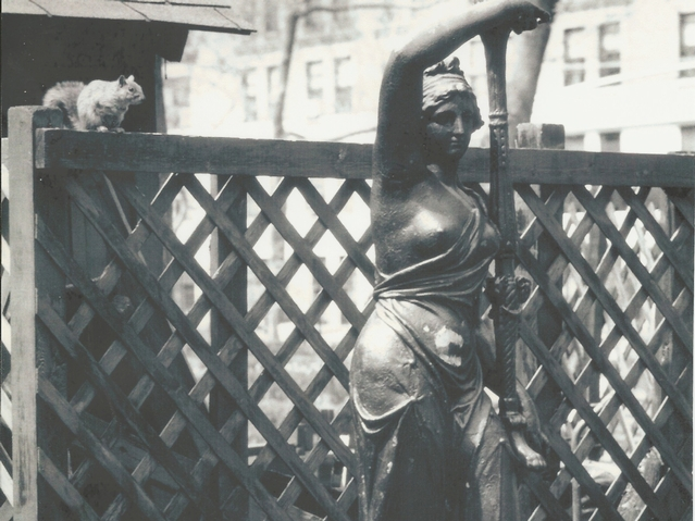 An image of the nymph statue in 1983, the year it was removed from Gramercy Park.