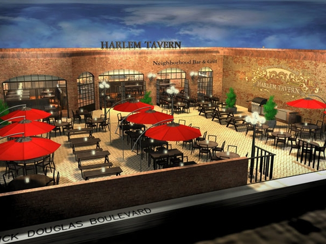 A rendering of Harlem Tavern at Frederick Douglass Boulevard and West 116th Street. The tavern is slated to open this spring.